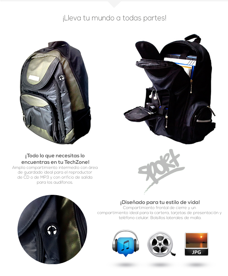 TechZone-Mochila-Backpack-TZBTS303-para Laptop-poliester-correas acolchonadas-compartimientos-fotos