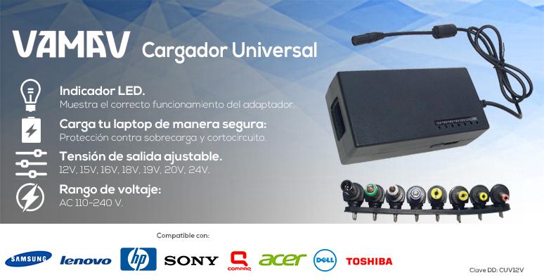Vamav-Cargador Universal-para Laptop-Indicador Led-9 puntas intercambiables-compatible con más de 1000 modelos