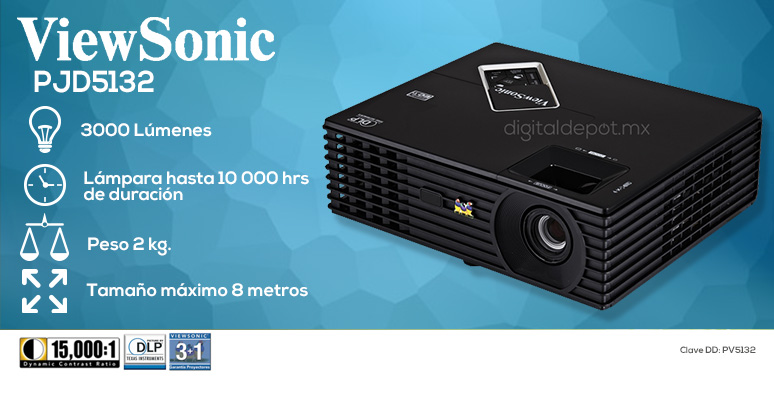 ViewSonic-proyector-cañon-PJD5132-negro-3000 lumenes-lampara 10000hrs-2kg