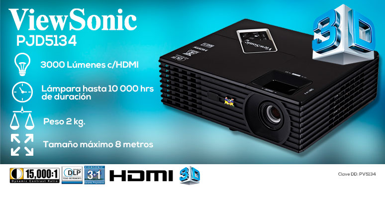 ViewSonic-proyector-cañon-PJD5134-3D-3000 lumenes-lampara 10000hrs-2kg