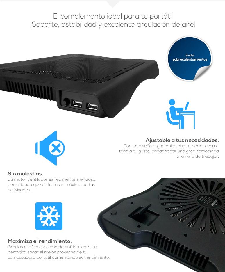 Vorago-Base Enfriadora para Laptop-Cooler Pad 100-compatible-conexion USB-ergonomica y ligera-fotos