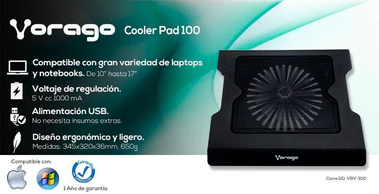 Vorago-Base Enfriadora para Laptop-Cooler Pad 100-compatible-conexion USB-ergonomica y ligera