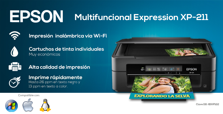 epson-multifuncional-print-expression-xp-211-rapida-impresion inalambrica-cartuchos de tinta individuales-alta calidad de impresion