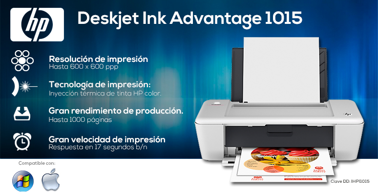 hp-impresora-print-deskjet ink advantage-1015-laser-resolucion de 600 x 600-inyecciontermica de tinta color-gran velocidad de impresion