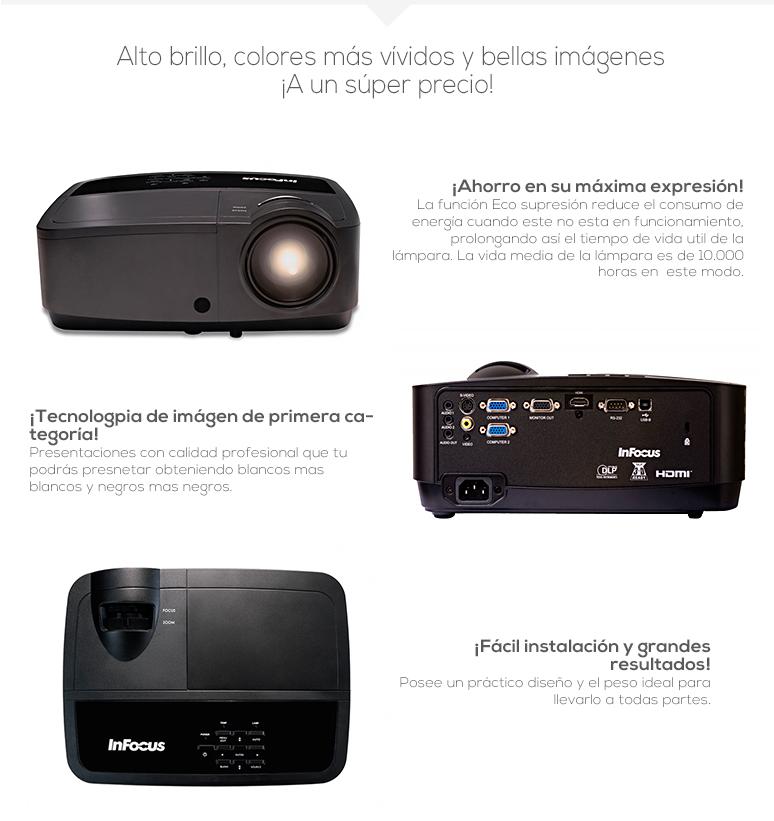 infocus-proyector-cañon-in112a-compacto-lampara de larga duracion-negros mas oscuros y blancos mas blancos-reproduccion de color precisa-fotos