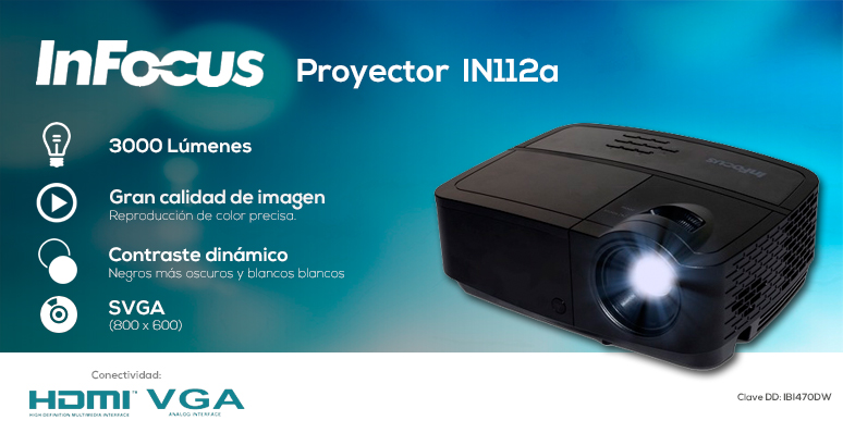 infocus-proyector-cañon-in112a-compacto-lampara de larga duracion-negros mas oscuros y blancos mas blancos-reproduccion de color precisa