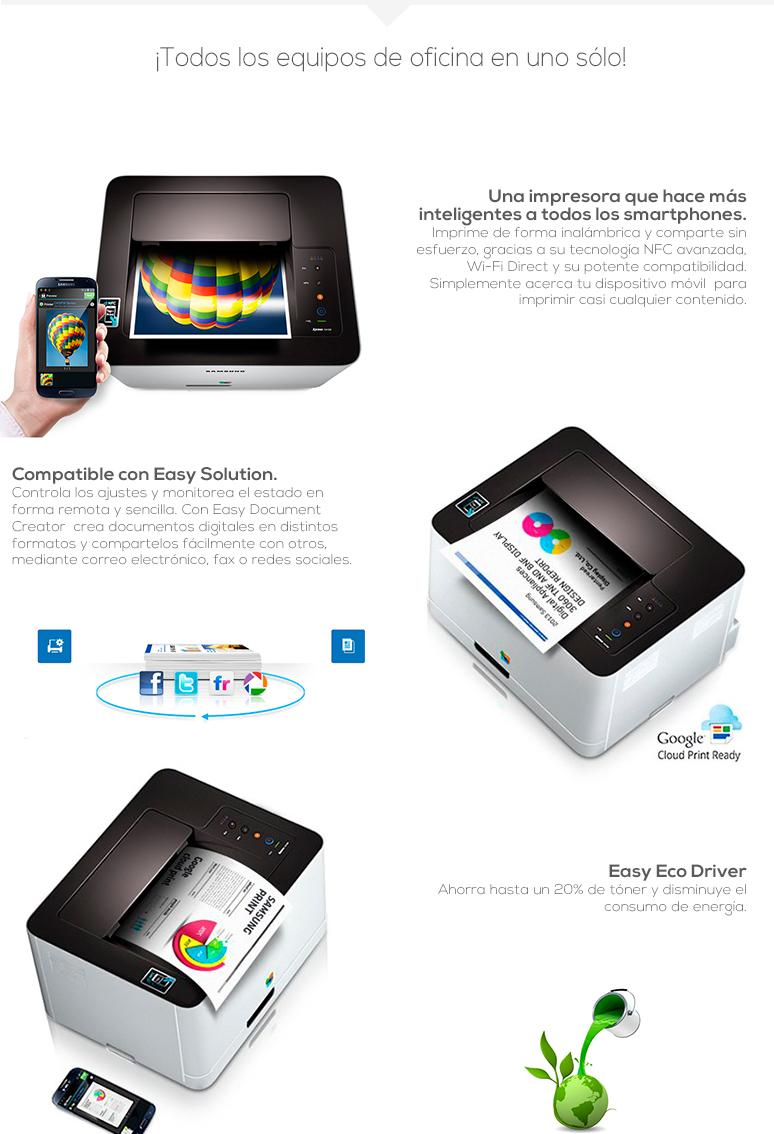 samsung-impresora-printer-xpress-sl-c410w-rapida-tecnologia laser monocromatica-interfaz nfc-tecnologia easy eco driver-fotos