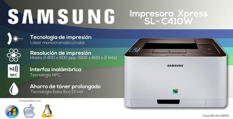 samsung-impresora-printer-xpress-sl-c410w-rapida-tecnologia laser monocromatica-interfaz nfc-tecnologia easy eco driver
