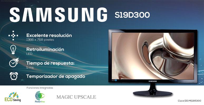 samsung-monitor-pantalla-s19d300-ergonomica-retroiluminacion led-5ms de respuesta-temposizador de apagado